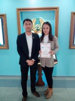 "December 7, 2016 the student of the 2nd course of the specialty ""International relations"" of Karaganda economic university EsenGuldauren won the 1st place at the Republican scientific-practical conference ""Actual problems of the world history and internat"